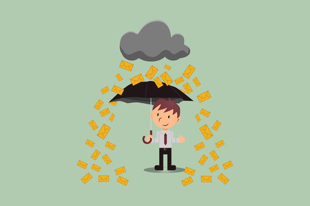 Email marketing, rain post on user with happy umbrella
