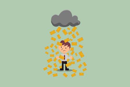 Email marketing: Rain Post on employee user. Illustration