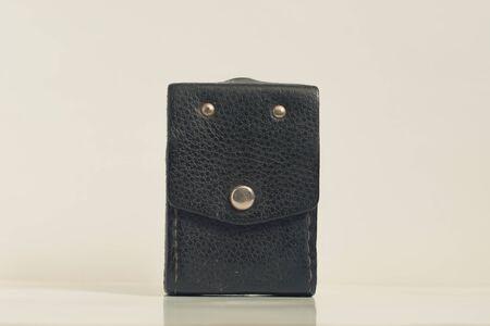 Vintage leather case on isolated white background