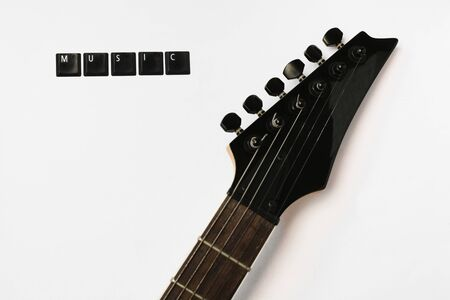 Electric Guitar strings fretboard love music isolated background