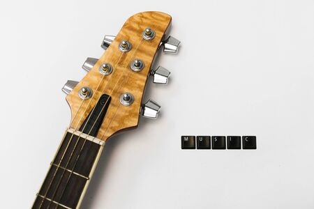 Guitar strings fretboard love music isolated background