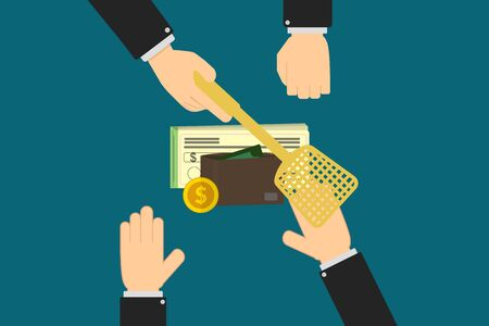 Executive hands prevent account holder from withdrawing cash, a wallet, checkbook and coins, personal finance concept with copy space Stock Photo
