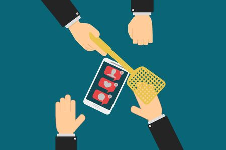 Executive hands prevent the employee from receiving and opening notifications on their smartphone, distractions at work, the concept of information security in companies