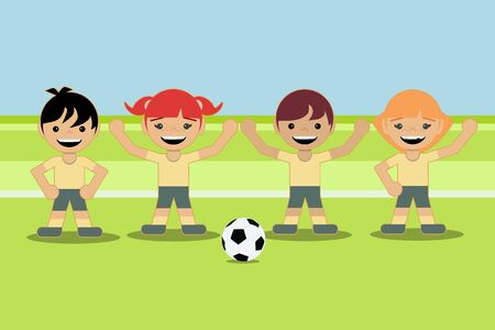 boys and girls playing with a soccer ball on the same team. flat style design Illustration