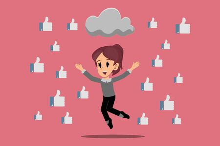 rain of likes for trend created by community manager, social media marketing concept