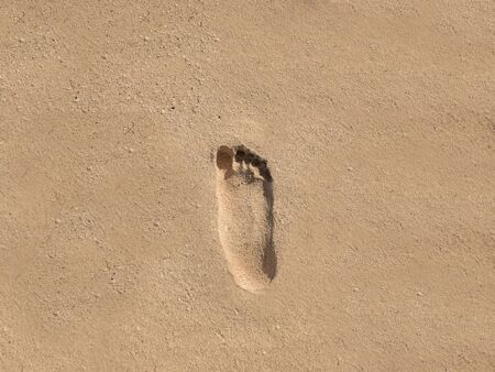 Footprint walk on the sand at the beach, isolated background with copy space Stock Photo