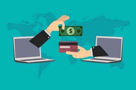 online transactions, deposit savings in credit card anywhere in the world Illustration