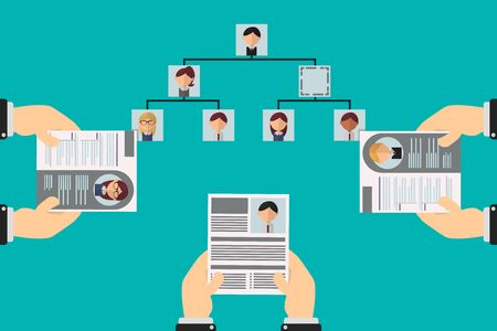 vacancy in the organizational hierarchy, applicants show their resumes to apply to the position, the organization chart is shown