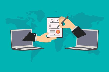 Online education, the student presents exam for virtual certificate