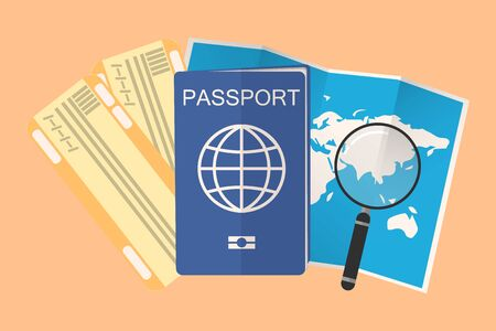 passport, plane tickets and open map with magnifying glass. composition with a holiday theme.