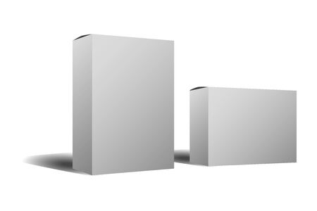 two white cardboard box mock-up, products, white background to fill