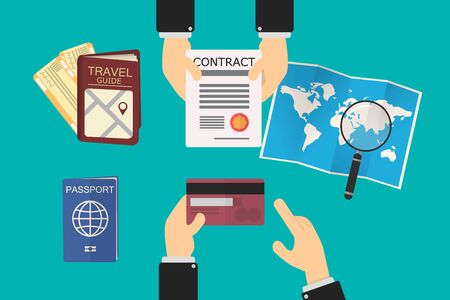 executive goes to a travel agency, the agent extends a vacation service contract.