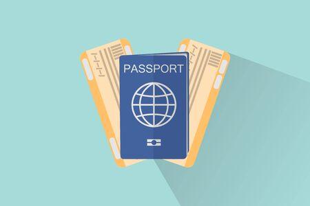 travel passport and plane tickets, flat style design