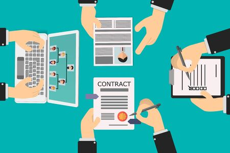 recruitment of human resources, review of the contract by the employee, the recruiter verifies the organization chart and the curriculum vitae