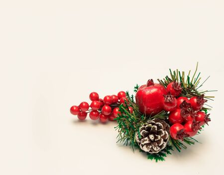 Christmas fir branches with decorations isolated background over white, with copy space