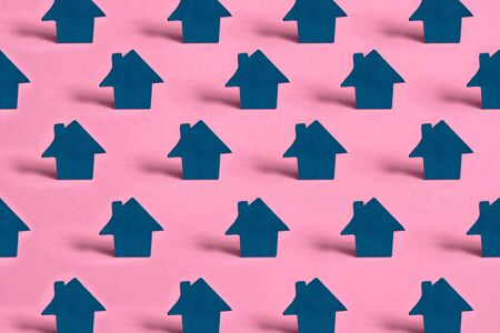 set of homes on pink isolated background, real estate concept. Acquisition of a home in neighborhood.