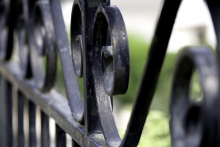 and gate: Black fence Stock Photo