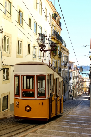 This funicular is one of the three that still work everyday in Lisbon  Stock Photo - 15419086