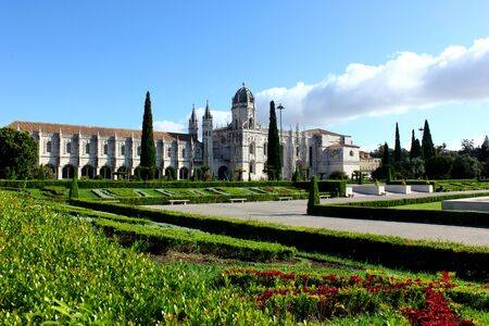 The garden and the monastery located at the Belem quarter. Editorial