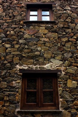 window sill: Detail of an house made of schist stone Stock Photo