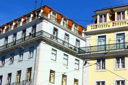 chiado: Detail of some buildings at the Chiado quarter  Stock Photo
