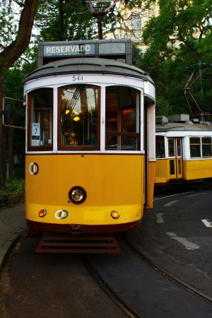 electrico: The famous tram 28 at Lisbon, Portugal