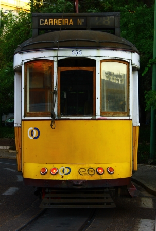The yellow tram 28 at the portguese capital city, Lisbon Stock Photo - 15767900