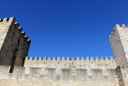Detail of one of the towers of the St  George s Castle at Lisbon