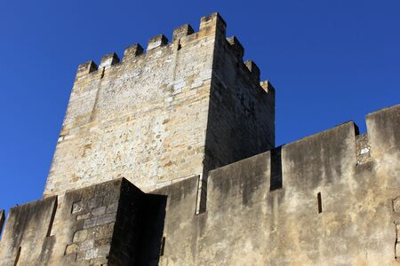 fortifying: Detail of one of the towers of the St  George s Castle at Lisbon