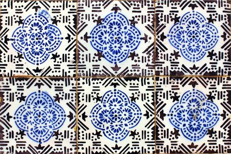 Detail of some typical portuguese tiles  azulejos  at Lisbon photo