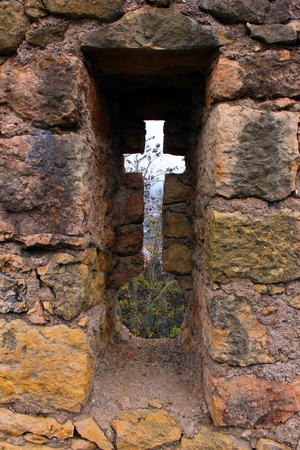 loophole: Detail of a loophole at a portuguese medieval castle