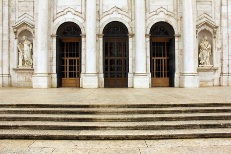 Detail of the entrance of the Estrela Basilica at Lisbon, POrtugal Stock Photo