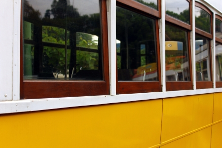 electrico: Detail of the famous tram 28 at Lisbon, Portugal Stock Photo