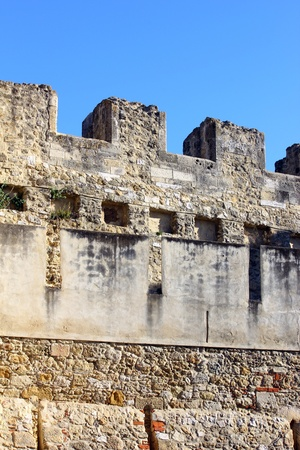 fortifying: Detail of the Saint George Castle at Lisbon, Portugal
