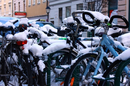 land locked: Bicycles covered with snow