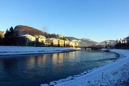 View over the river Salzach at Salzburg, Austria photo