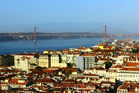 baixa: Baixa and Tagus bridge, Lisbon, Portugal Stock Photo