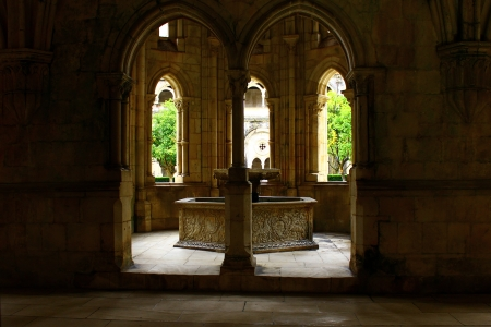 Alcobaca Monastery cloister, Alcobaca, Portugal Stock Photo