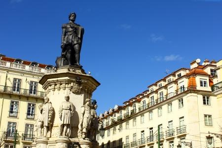 chiado: Camoes square, Lisbon, Portugal