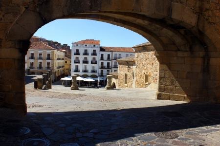horizontals: Plaza Mayor, Caceres, Spain