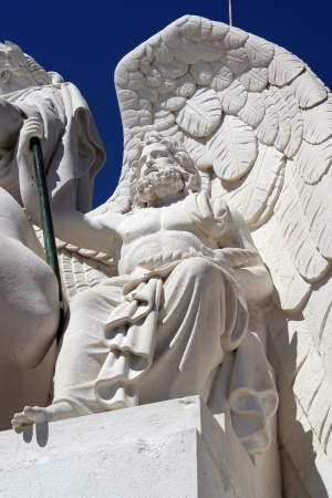 classical greece: Detail of the arch at Augusta street, Lisbon, Portugal Stock Photo