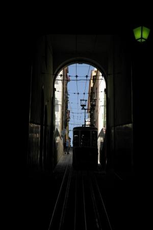 bica: Tram rail at Bica, Lisbon, Portugal