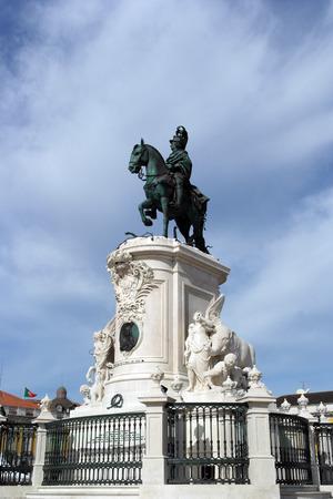 King Joseph statue at the commerce square, Lisbon, Portugal photo