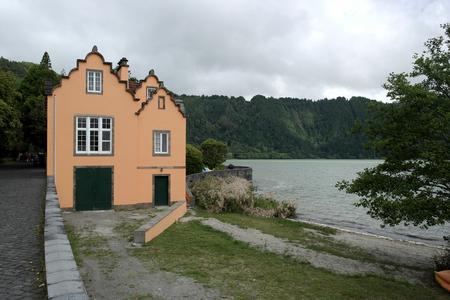 garden settlement: House near Furnas lake, Sao Miguel island, Portugal