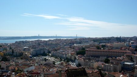baixa: View over Lisbon, the capital city of Portugal