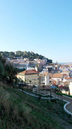 baixa: Saint Georges Castle, Lisbon, Portugal Stock Photo