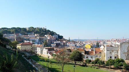 city of sunrise: Saint Georges Castle, Lisbon, Portugal Stock Photo