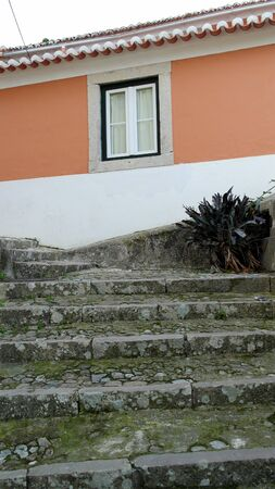 Detail of some stairs and an old building, Sintra, Portugal