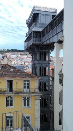 Santa Justa lift, Lisbon, Portugal Stock Photo