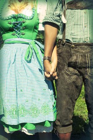 interracial couple: Interracial couple at Oktoberfest Stock Photo